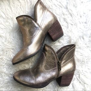 Chinese Laundry Gold Glitter Booties Size 7.5